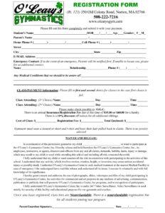 Registration Form - O'Leary's Gymnastics Center
